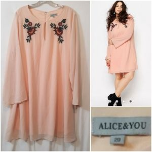 Alice and You Peach Embroidered Dress